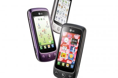 Three LG Cookie Plus smartphones in black, purple and white as if floating in the air