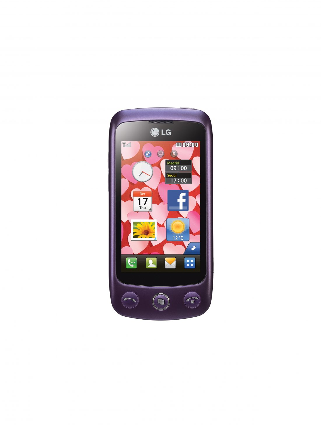 Front view of the LG Cookie Plus in Purple