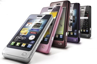 All five color variants of the LG Pop – white, pink, brown, purple and black – pictured while performing the domino effect