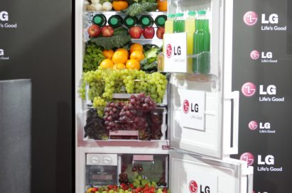 The LG refrigerator display in…, with healthy fruits, vegetables and juices flowing from the appliance's interior like a waterfall.