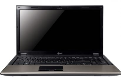 Front view of the Champagne Gold LG A510 laptop with its display open
