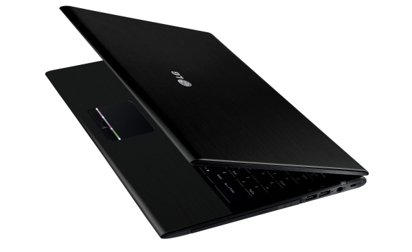 Side view of the black LG A510 laptop with its display open 45-degrees