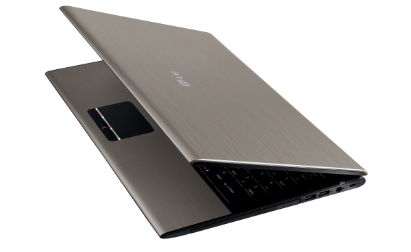 Side view of the Champagne Gold LG A510 laptop with its display open 45-degrees