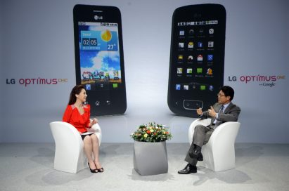 Dr. Skott Ahn answers questions on the LG Optimus Chic and One models from the event's host at the LG Optimus event.