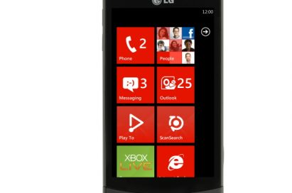 Front view of the LG Optimus 7 with a red-themed user interface