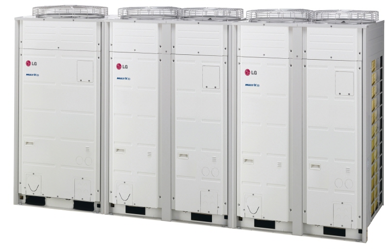 Another image for A line of three LG Multi V III commercial air conditioners