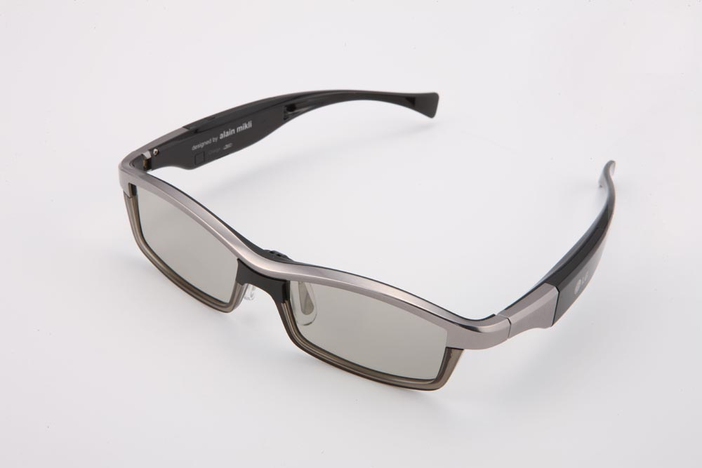 Higher view of LG's 3D glasses facing 30-degrees to the left