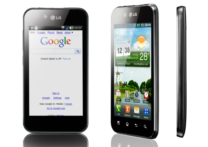 Front view, 45-degree view and side view of LG Optimus Black.