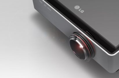 A close-up of the world's first Full HD Dual Engine Single Lens 3D Projector model CF3D