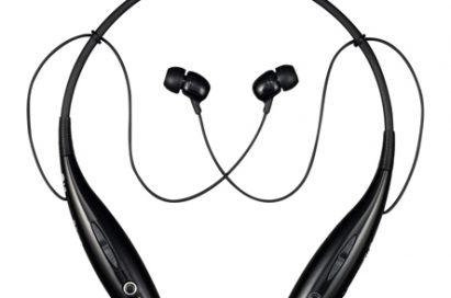 Birds-eye-view of the standard black LG HBS700 wireless stereo headset