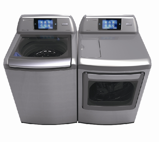 Upper front view of LG's Smart Washer & Dryer