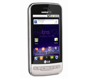 Front view of the white LG Optimus M facing 15-degrees to the right
