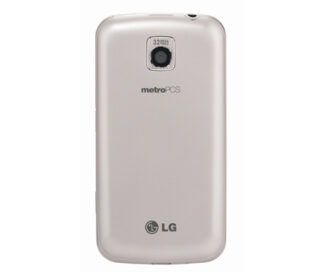 Rear view of the white LG Optimus M