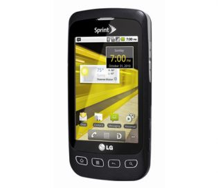 Front view of the black LG Optimus S facing 15-degrees to the left