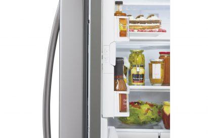 Side close-up view of LG new Four-Door French-Door refrigerator's door bin space closed