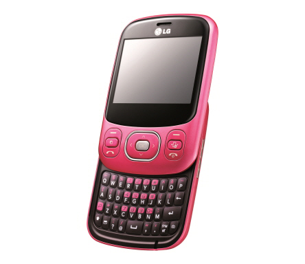 The Cherry Pink LG Town C320 slid upwards, exposing its slidable keyboard