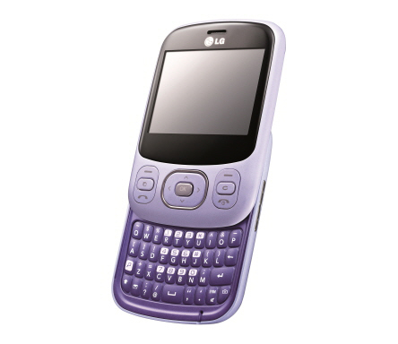 The Happy Violet LG Town C320 slid upwards, exposing its slidable keyboard