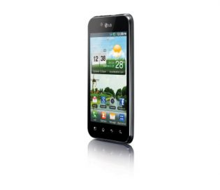 Front view of the LG Optimus Black facing 30-degrees to the left while viewing on the home screen