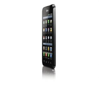 Front view of the LG Optimus Black facing 75-degrees to the left while viewing the home apps screen