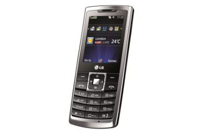 Front view of the LG S310 with a black keypad