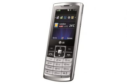 Front view of the LG S310 in silver color