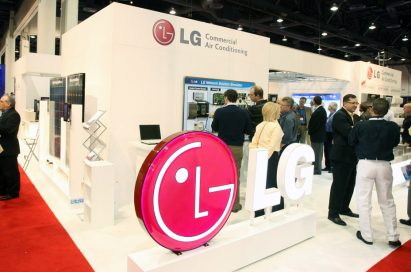 LG's commercial air conditioning solutions on display at an HVAC-specialized trade show