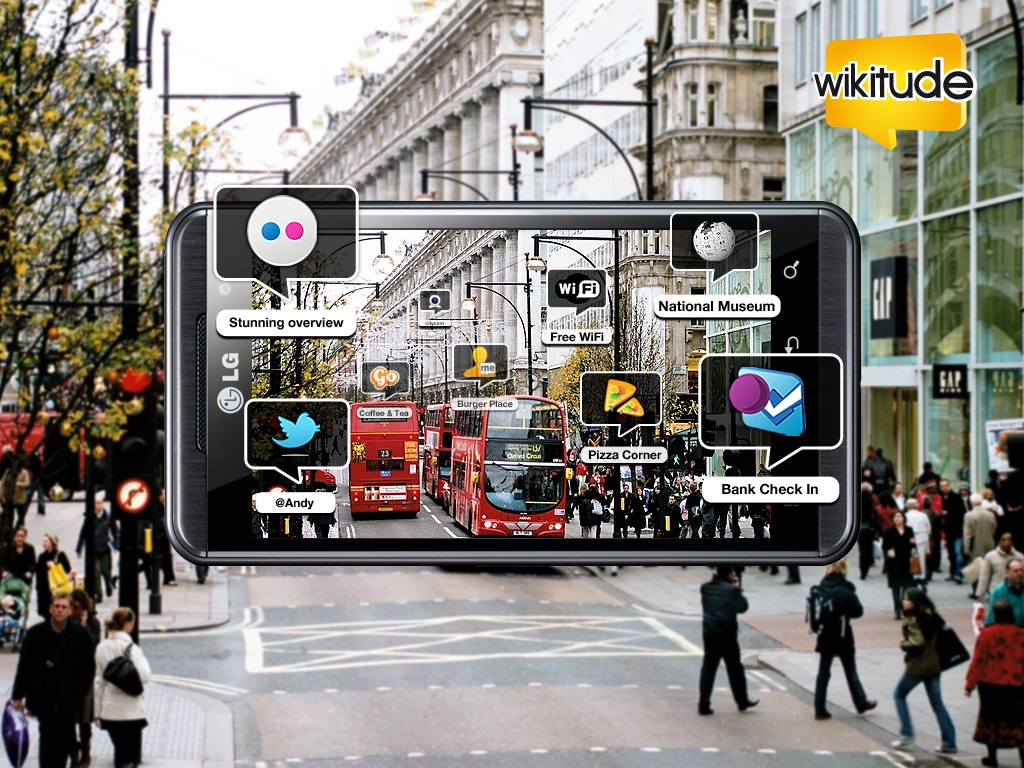 Marketing image of WIKITUDE 3D DIMENSION on an LG phone superimposed over a street scene