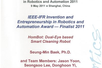A HOM-BOT certificate to recognize it as a finalist at the 7th Annual Invention and Entrepreneurship Award in Robotics and Automation (IERA)