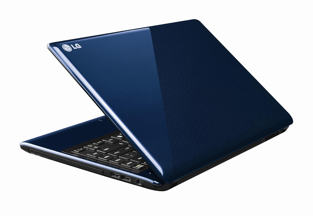 Side view of LG's AURORA NOTEBOOK in blue with the display open at a 45-degree angle