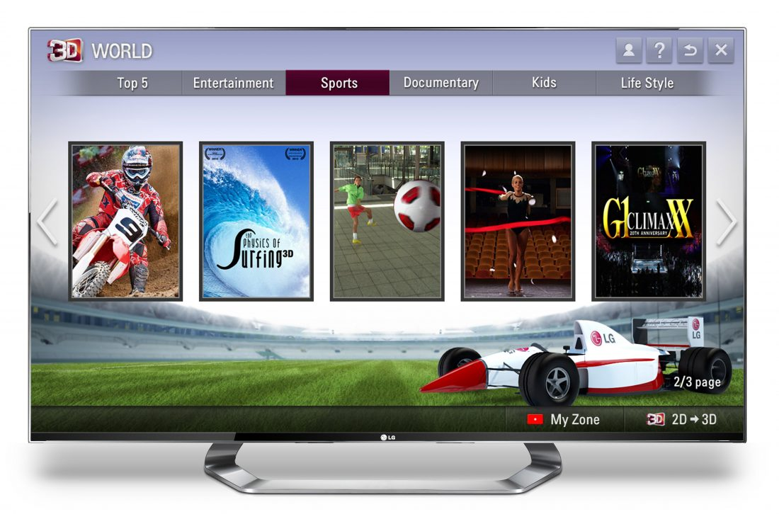 The Sports Home of LG's 3D content platform, 3D World displayed on the screen of an LG TV