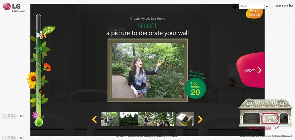 An interactive section of LG's Eco Home which allows visitors to customize their framed photo in order to decorate the eco-friendly kitchen