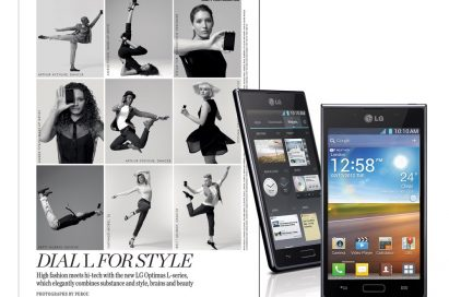 A fashion spread next to a front and rear view of the LG OPTIMUS L-SERIES