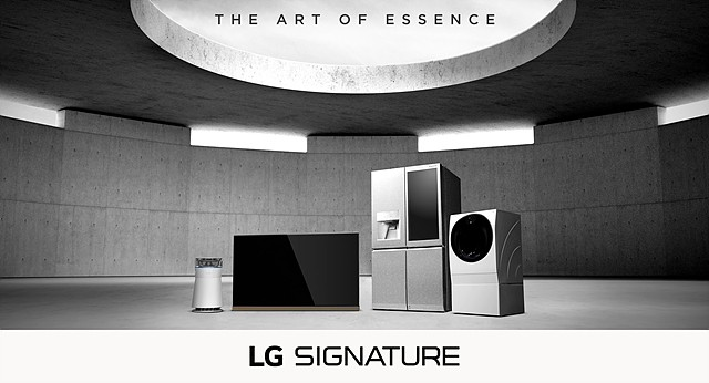 LG SIGNATURE product lineup under 'The Art of Essence' brand slogan