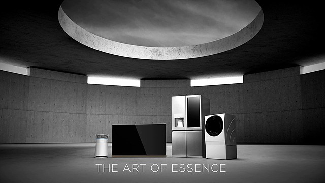 LG SIGNATURE product lineup in sophisticated, minimalist architectural setting