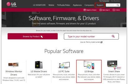 Screenshot of LG website – upgrading 360 CAM