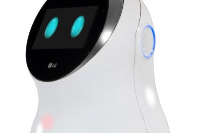 Front view of LG's CLOi hub robot facing 45 degrees to the left