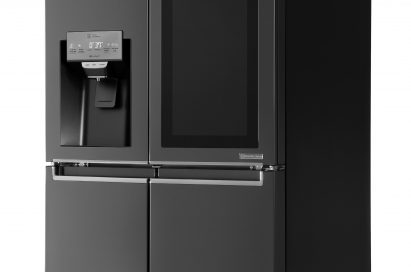 Side view of LG InstaView™ refrigerator with its touch panel inactivated