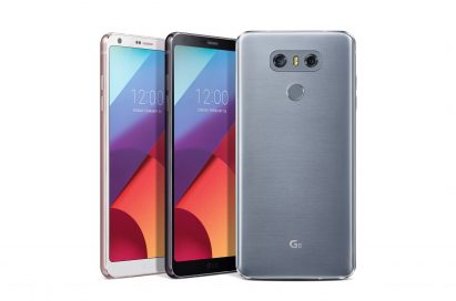 The front and rear view of the LG G6 in Mystic White, Astro Black and Ice Platinum