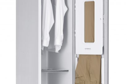 Side view of LG Styler with two shirts and one pants hanged in it
