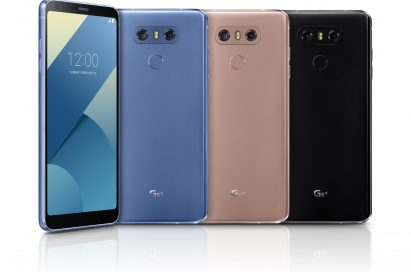 The front and back view of the LG G6+ in Optical Marine Blue, Optical Terra Gold and Optical Astro Black, side-by-side