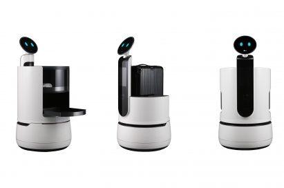 Image of CLOi robot lineup: LG CLOi ServeBot, LG CLOi PorterBot and LG CLOi CartBot