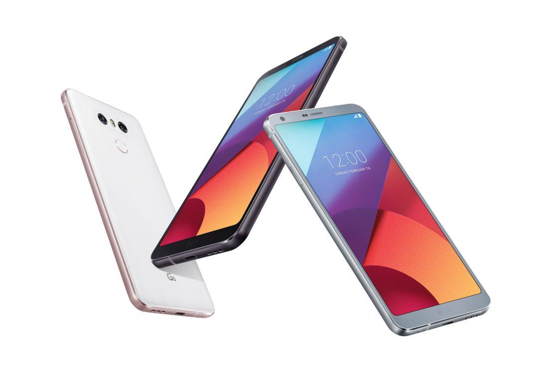 Three LG G6 phones form a zig zag pattern