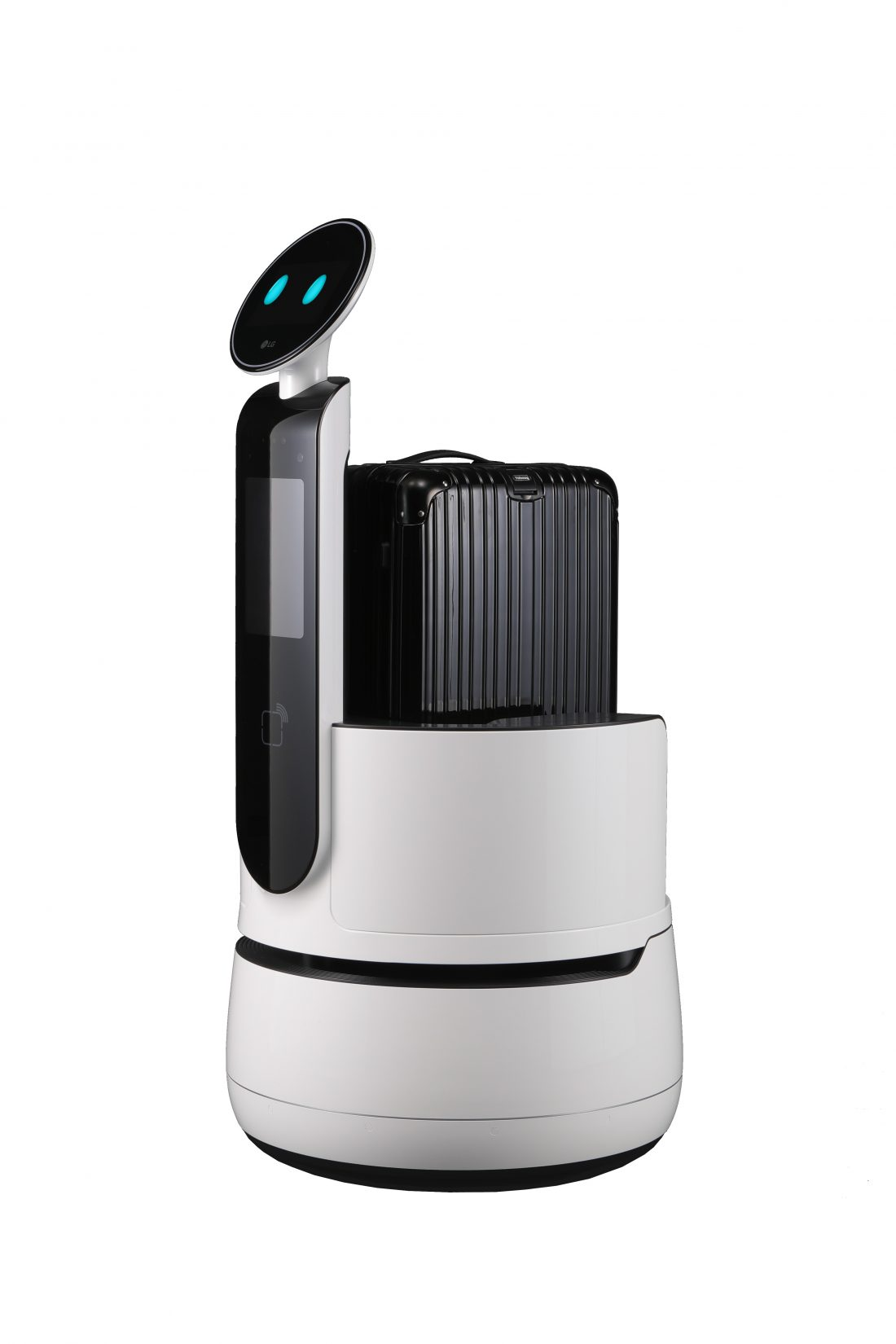 Front view of the LG CLOi CartBot facing 45 degress to the left