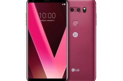 Two LG V30 smartphones in Raspberry Rose color, one facing front and one facing rear