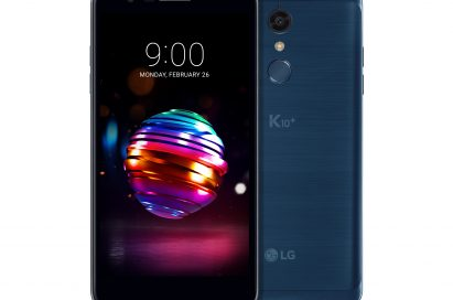 The front and back view of the LG K10+ in Moroccan Blue