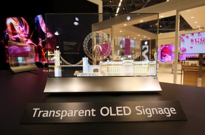 A view of the LG Transparent OLED signage displayed at ISE 2018