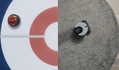 Two combined photos of an Olympic curling stone on half a target, with the other half a living room carpet with the LG CordZero R9 robot vacuum moving across it.