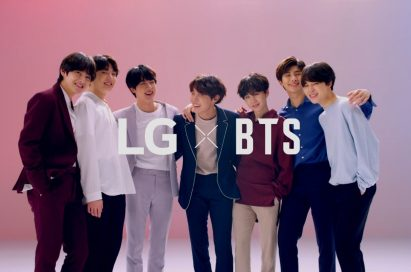 A promotional photo of the LG x BTS project featuring all the members of BTS