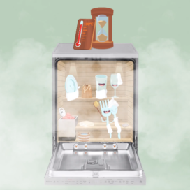 An artist's impression of how the TrueSteam™ technology in LG's dishwasher generates and emits pure steam to ensure hygienic cleaning and anti-bacterial disinfection