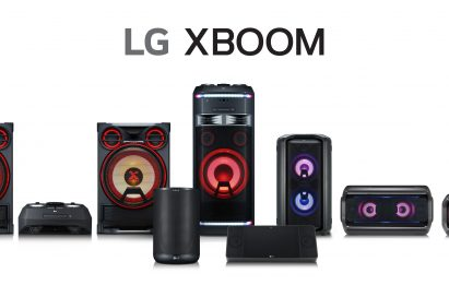 Front view of the LG XBOOM lineup